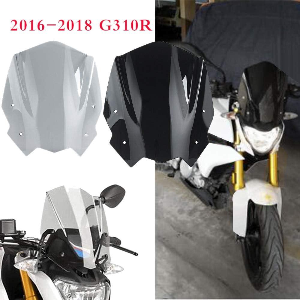 Shumo Motorrad Windschutzscheibe Windschutzscheibe mit Halterung F/üR G310R G 310 R 2016-2018 Klar Grau