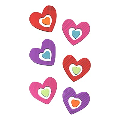 Valentine Reusable Window Gel Cling ~ Grooved Colorful Hearts in Hearts (12 Clings, 1 Sheet): Home & Kitchen