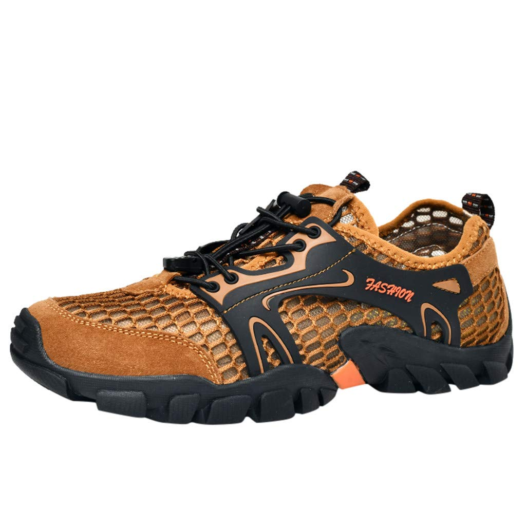 Breathable Hiking Shoes Men,Mosunx Athletic 【Waterproof Non-Slip Arch Support 】Mesh Outdoor Climbing Sneakers Fashion Casual Trail Walking Shoes (7.5 M US, Brown)