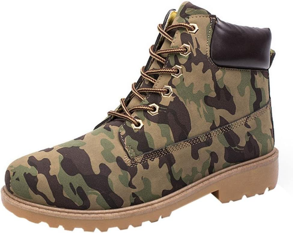 Zapatillas Hombre Zapatos casuales de hombres Shoes Botines con cordones de hombre Botas de cuero (Camuflaje, EU43 /CN 44)