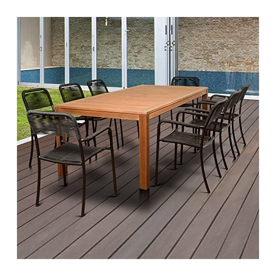 Brampton Eucalyptus 9-pc Patio Dining Set, 9-Piece - Its resistance to weather and UV radiation makes the set durable and enjoyable Highest quality hardware included Durable all-weather design ideal for any climate - patio-furniture, dining-sets-patio-funiture, patio - 61JjFgelV1L. SS570  -