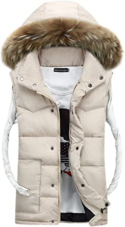 BOZEVON Winter Mens Warm Coat Faux Fur Down Hooded Fur Collar Jacket Vest Gilet