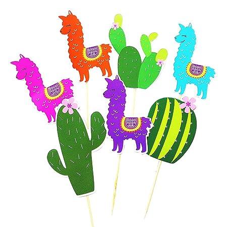 Amosfun Cactus Alpaca DIY Cupcake Toppers Pastel Decoración ...