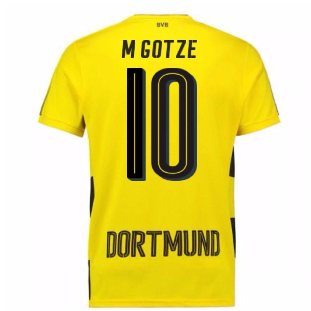 2017-18 Borussia Dortmund Home Short Sleeve Football Soccer T-Shirt Trikot (Mario Gotze 10)