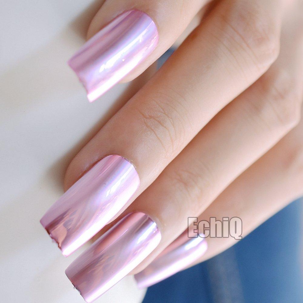 Amazon.com : CoolNail 20pcs Fashion Baby Pink Metal Plate Fake Nails ...