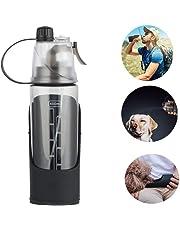 LEMONDA Dog Water Bottle for Walking,600ml/20oz Portable 3 in 1 Water Bottle with Removable Pet Bowl Water Dispenser & Cooling Mist Spray,BPA-Free Outdoor Travel Water Bottle for Dogs,Black