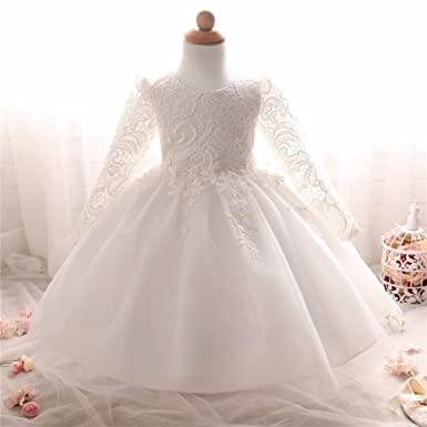 e154725de Amazon.com: Long Sleeve White Christening Dresses for Baby Girl with  beautiful laces: Clothing