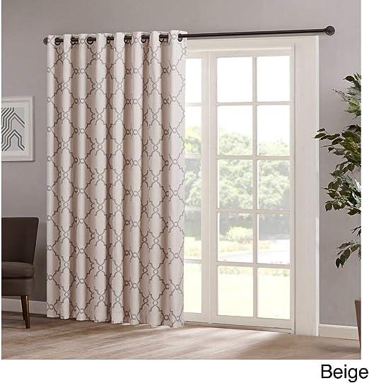 1Pieza 84 Beige Color geométrico cortina de puerta corredera, marrón puerta corrediza de patio panel ventana tratamiento solo Panel, ojal poliéster, entramado diseño contemporáneo cortinas puerta de cristal: Amazon.es: Hogar