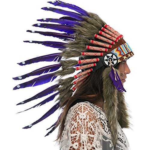 Aztec Costumes For Adults - Feather Headdress- Native American Indian Inspired-