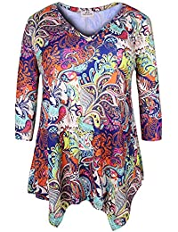 Women's Plus Size Printed 3/4 Sleeve Tunic Top Loose Shirt