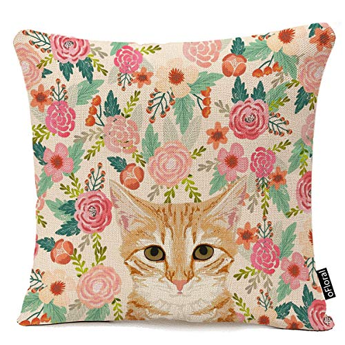 - Throw Pillow Cover Orange Portrait Tabby Cat Spring Florals Cute Lady Person Decorative Pillow Case Home Decor Square 18 x 18 Inch Pillowcase Cotton Linen