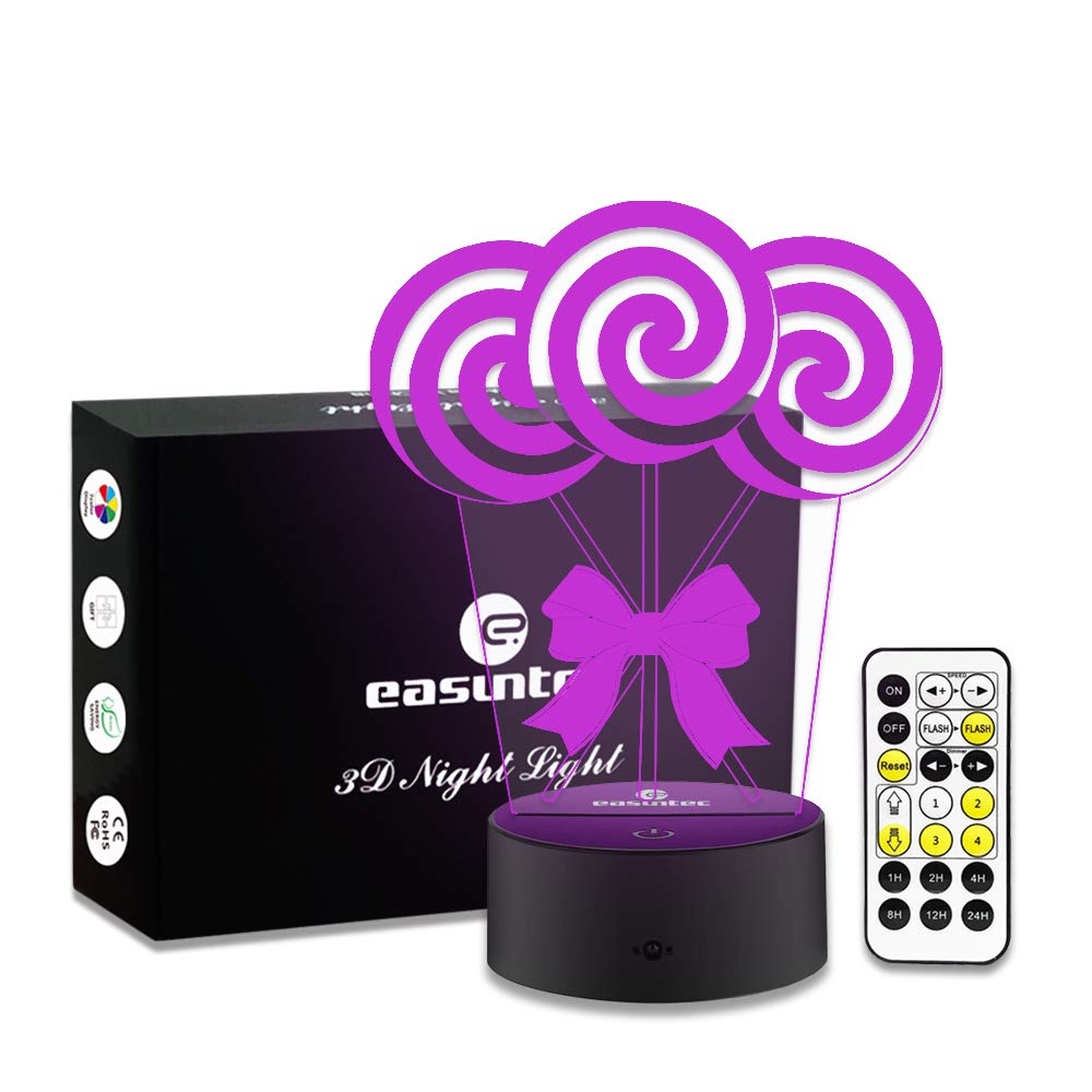 Easuntec Gifts for Girls Lollipop Night Light 7 Colors Change with Timer Remote Perfect All-Night Companion for Kids Birthday Gift idea(Lollipop)