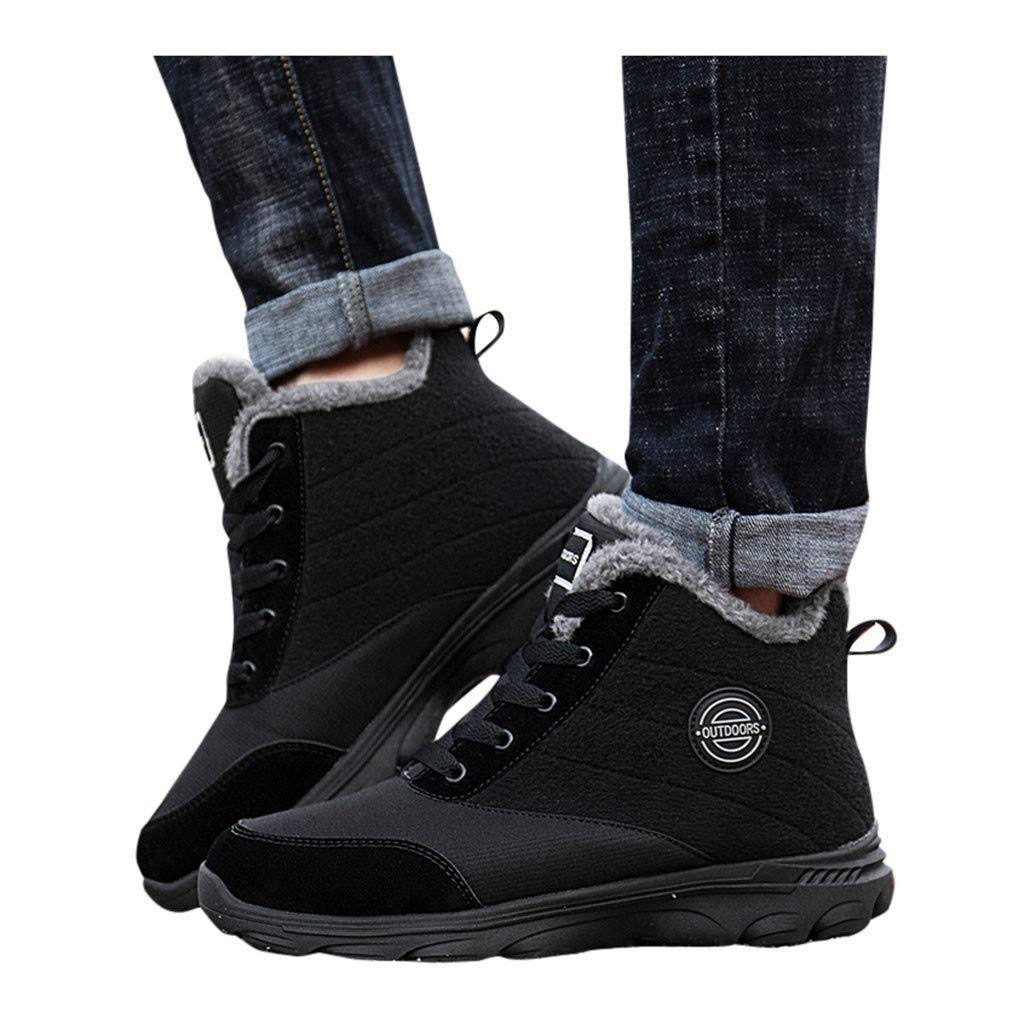 Vibola Women's Snow Boots Winter Cotton Warm Fur Lined Ankle Boots Outdoor Anti-Slip Booties Lace Up Hiking Shoes by Vibola
