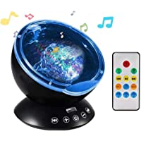 NEWKBO Color Remote Control Ocean Wave Projector,12 LED &7 Colors Night Light Projector, with Built-in Mini Music Player, for Living Room and Bedroom