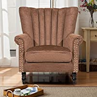 Harper Bright Designs Upholstered Accent Chair Stylish Club Chair Living Room Chair Armchair with Suede Fabric (Brown)