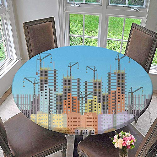 Chateau Easy-Care Cloth Tablecloth Build City Under Construction Website with Tower Cranes for Home, Party, Wedding 50