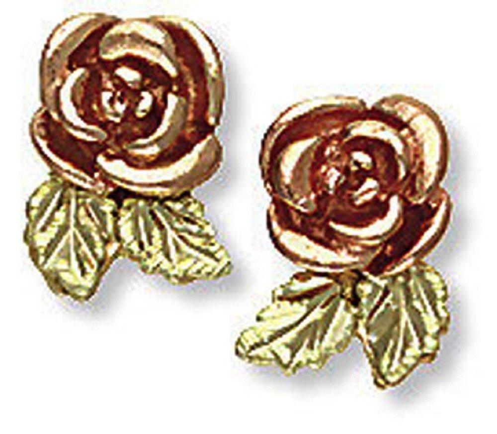 Landstroms 10k Black Hills Gold Rose Earrings, for Pierced Ears - 01690
