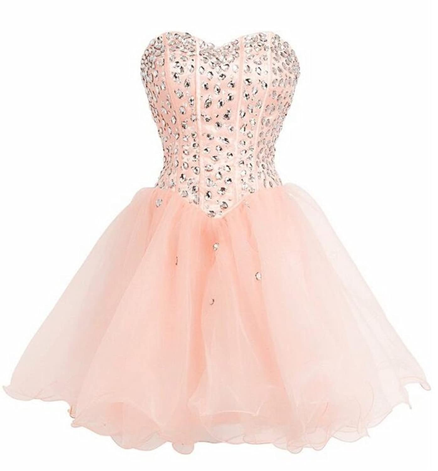 Endofjune Short Strapless Beading And Tulle Cocktail Ball Prom Dress