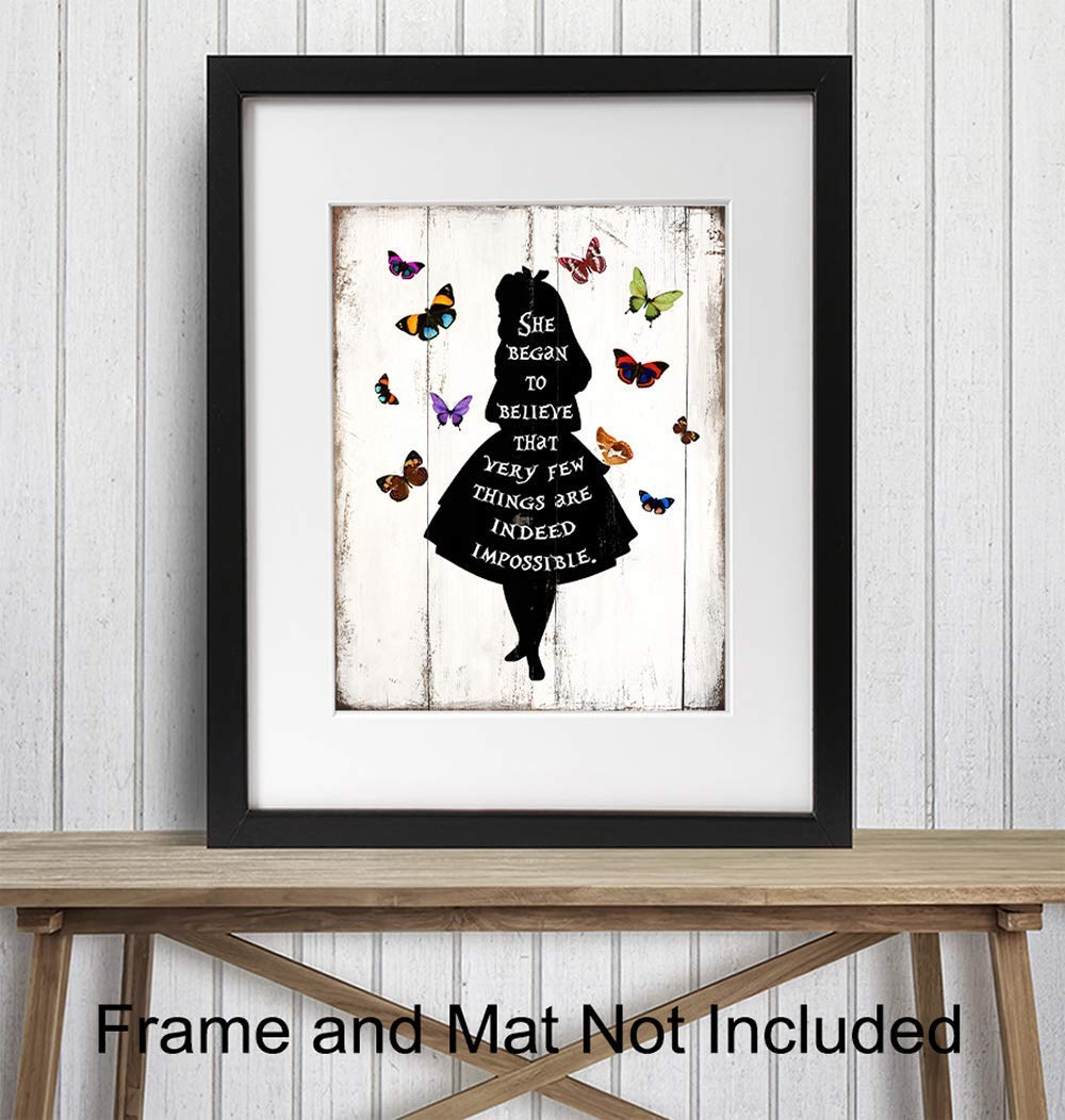 8x10 Photo Vintage Farmhouse Wall Art Motivational Gift for Women Alice in Wonderland Rustic Home Decor Shabby Chic Butterfly Wall Decor for Bedroom Baby or Girls Room Kids Nursery Decor