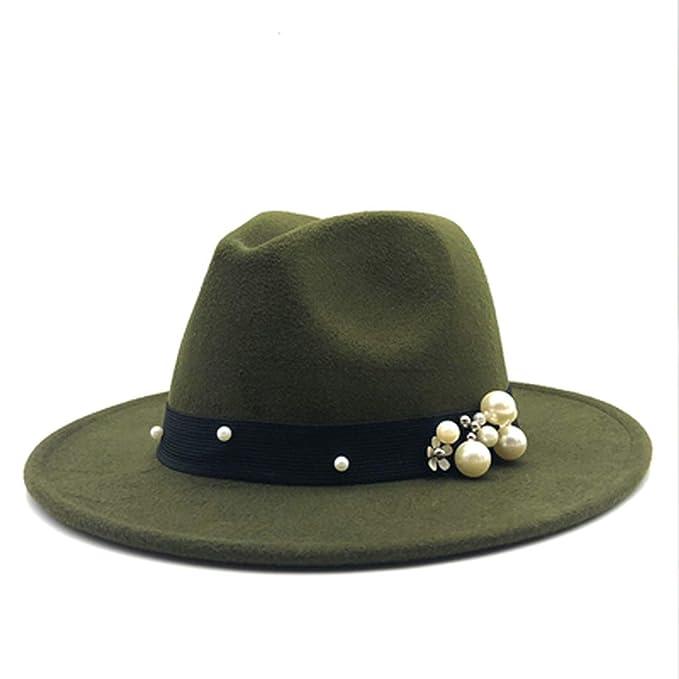 dd81e73a7e5 Wool Fedora Hat Felt Cap Wide Brim Ladies Chapeu Feminino Hat Women Pearls  Jazz Church Godfather