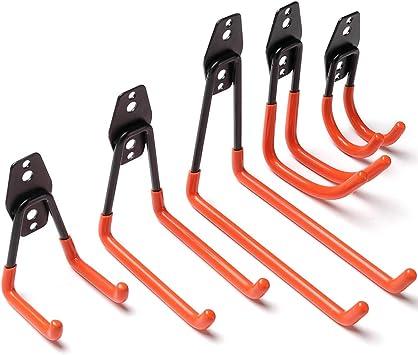 Colgadores de Bicicletas pared Soportes para Colgar Bicicletas Ganchos Escalera Ferretería, Heavy Pesado Colgadores para Garaje con Montaje en Pared Soporte para Escalera Storage (5 Pieze - Naranja): Amazon.es: Bricolaje y herramientas