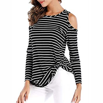 34c8aa7056c Image Unavailable. Image not available for. Color: Long Sleeve Twist Knot  Blouses,Womens Cold Shoulder Striped T Shirt Tops(M,
