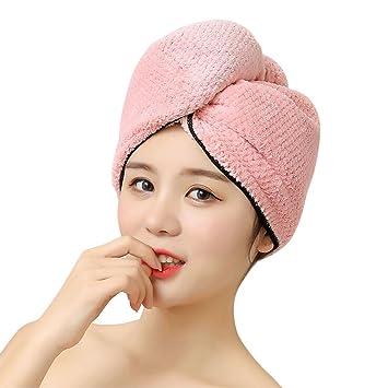 Toalla secador adulto gorro baño ducha microfibra turbante suave ligero ultra-absorbant Cabello cuidados sombrero Cheveaux secado con enganche para seca ...