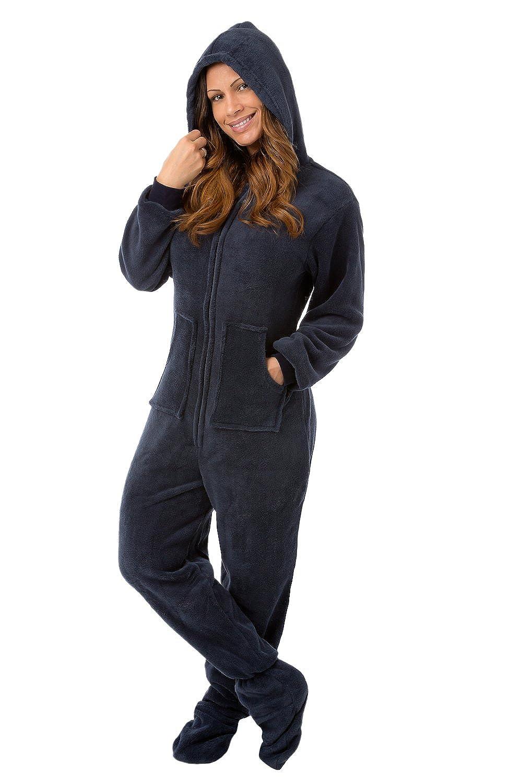 Navy Plush Hoodie Onesie Footed Pyjamas with Bum Flap  Amazon.co.uk   Clothing 221d7efc0