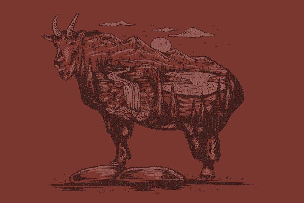 Mountain Goat – 景色動物シルエット 36 x 54 Giclee Print LANT-84031-36x54 B077V3QLBS  36 x 54 Giclee Print