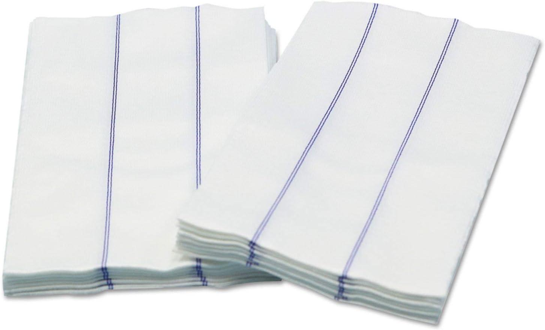 Busboy+Linen+Replacement+Towels%2c+White%2fBlue%2c+13+x+24%2c+1%2f4+Fold%2c+72%2fCarton