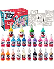 IDIY Fabric Paints, Set of 24 Colors, (1oz bottles) Ultra Bright 3D Fabric Paint - Includes Glitter, Metallic, Glow in the Dark, Neon Colors, 5 Stencils, & 3 Brushes, -, Non-Toxic Water-Based and Permanent - Great Craft, Gift, Project - Decorate on Any Surface!