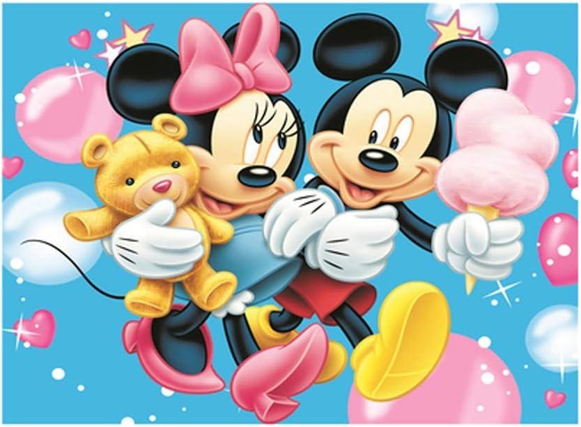 VAST Juegos de Puzzles for Adultos y niños,, Historieta de Mickey Mouse de Disney Mickey Rompecabezas de Madera, a 300/520/1000 Piezas de Entretenimiento Juguetes 525 (Color : A , Size :