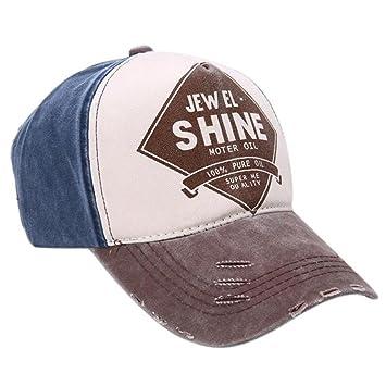 ❤️Btruely HerrenNueva unisex gorra de béisbol algodón mezclado motocicleta  Gorra molienda borde haga viejo Sombrero colorida de la tela cruzada  (Café)  ... 01c471b49c67