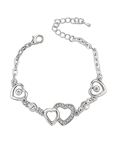 Young   Forever Romantica Sterling Silver Love Heart decorated fancy  stylish bracelet For Women B219 9813b4e06587