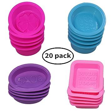 20 piezas jabón silicona que hace moldes, cuadrado redondo ovalado ...