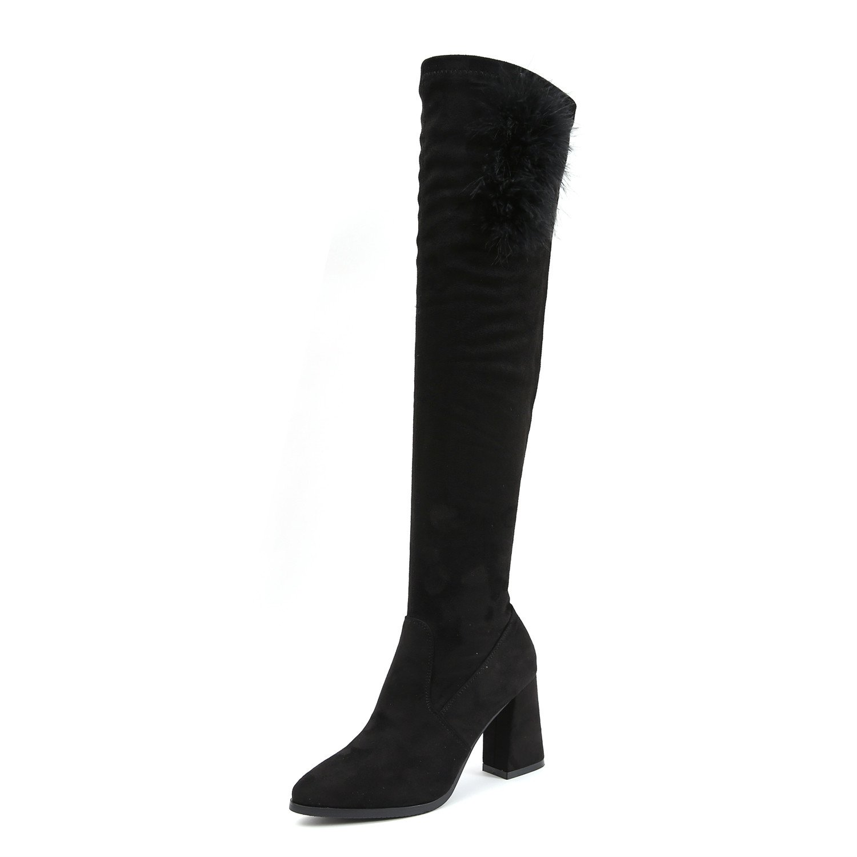 Noir HBDLH Chaussures pour Femmes Confort Bottes De Longueur Genou Les Bottes d'hiver A Indiqué Le Tube 8Cm Talons Hauts Bottines élastiques. Thirty-five