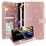 Galaxy Note 9 Case, Lacass Glitter Shiny Luxury PU Leather Flip Pouch Wallet Case Cover with Card Slots and Wrist Strap for Samsung Galaxy Note 9 (2018) (Rose Gold)