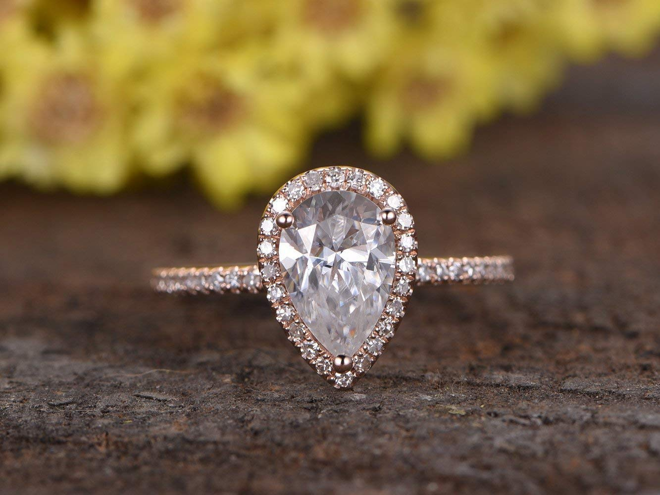 Amazon Com 5x7mm Pear Shape Cut Moissanite Engagement Ring Solid 14k Rose Gold Halo Diamond Micro Pave Wedding Band Antique Bridal Set Women Anniversary Gift For Her Charles Colvard Handmade