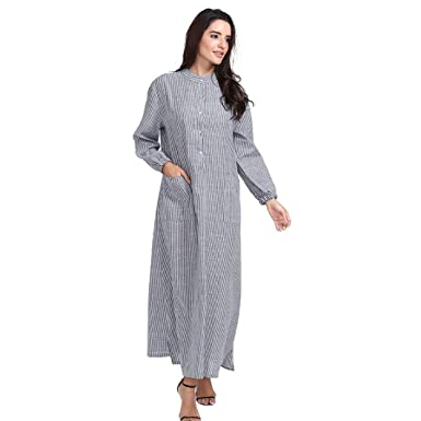 fc6bb66d8f Lelili Women Long Maxi Dress Striped Long Sleeve Round Neck Button Down  Side Split Cotton and Linen Dress with Pockets at Amazon Women s Clothing  store