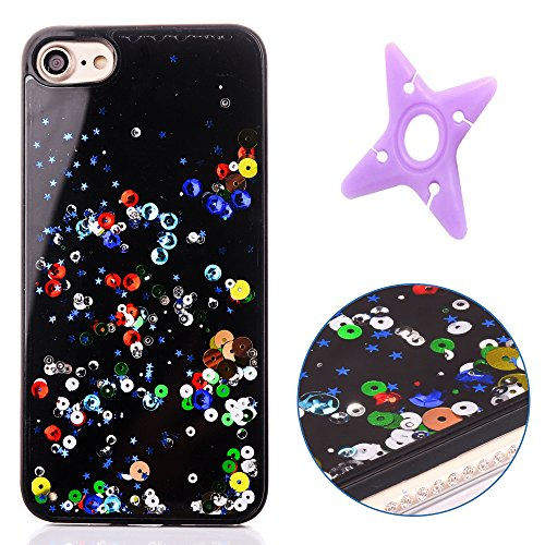 iPhone 6sPlus Flowing Stars and Hearts Case, MAOOY Dual-Layer Black Flexible Jelly Skin Edge with Shiny Rhinestone for iPhone 6Plus/6sPlus + 1 x Earphone Winder(Random Color) - Colorful (Hawaii Heart Rhinestone)