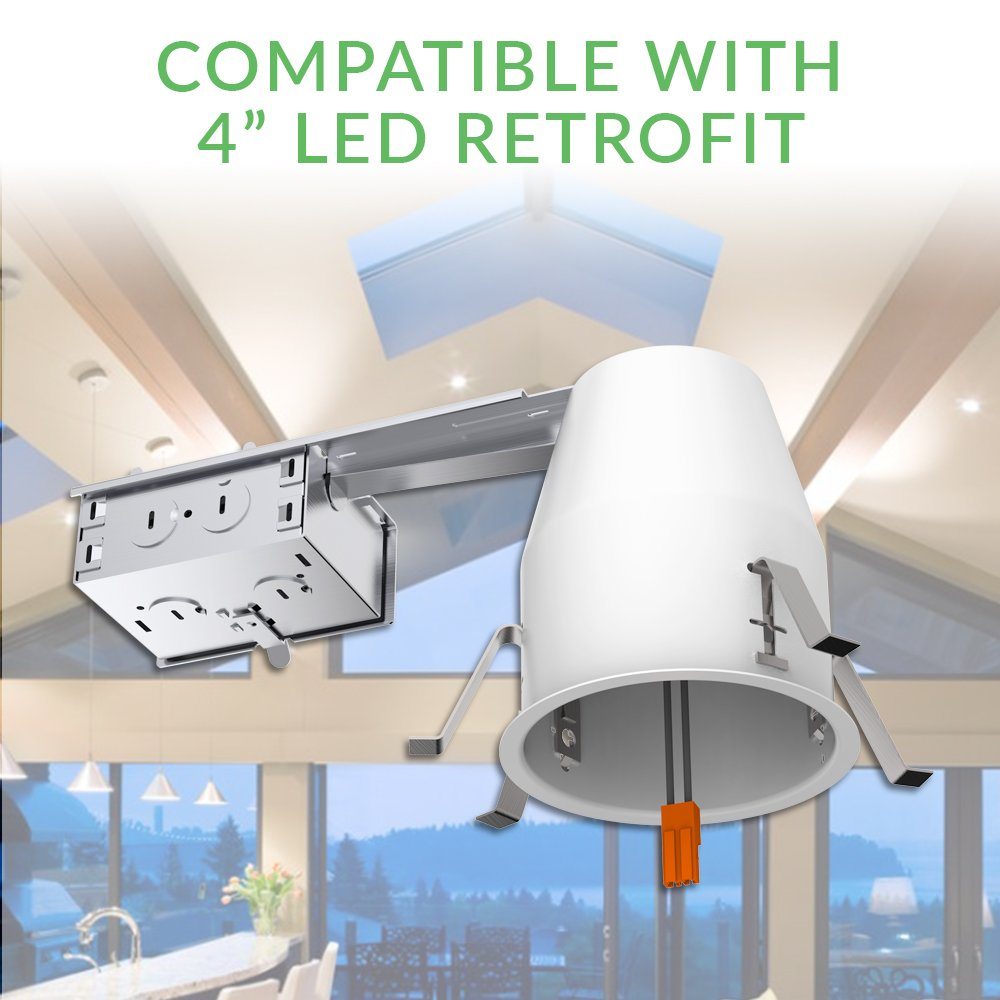 Sunco Lighting 6 Pack Of 4 Inch Remodel Led Can Air Tight Ic The Existing Circuit Support Extra Light Fittings Housing Recessed Ul Listed And Title 24 Certified