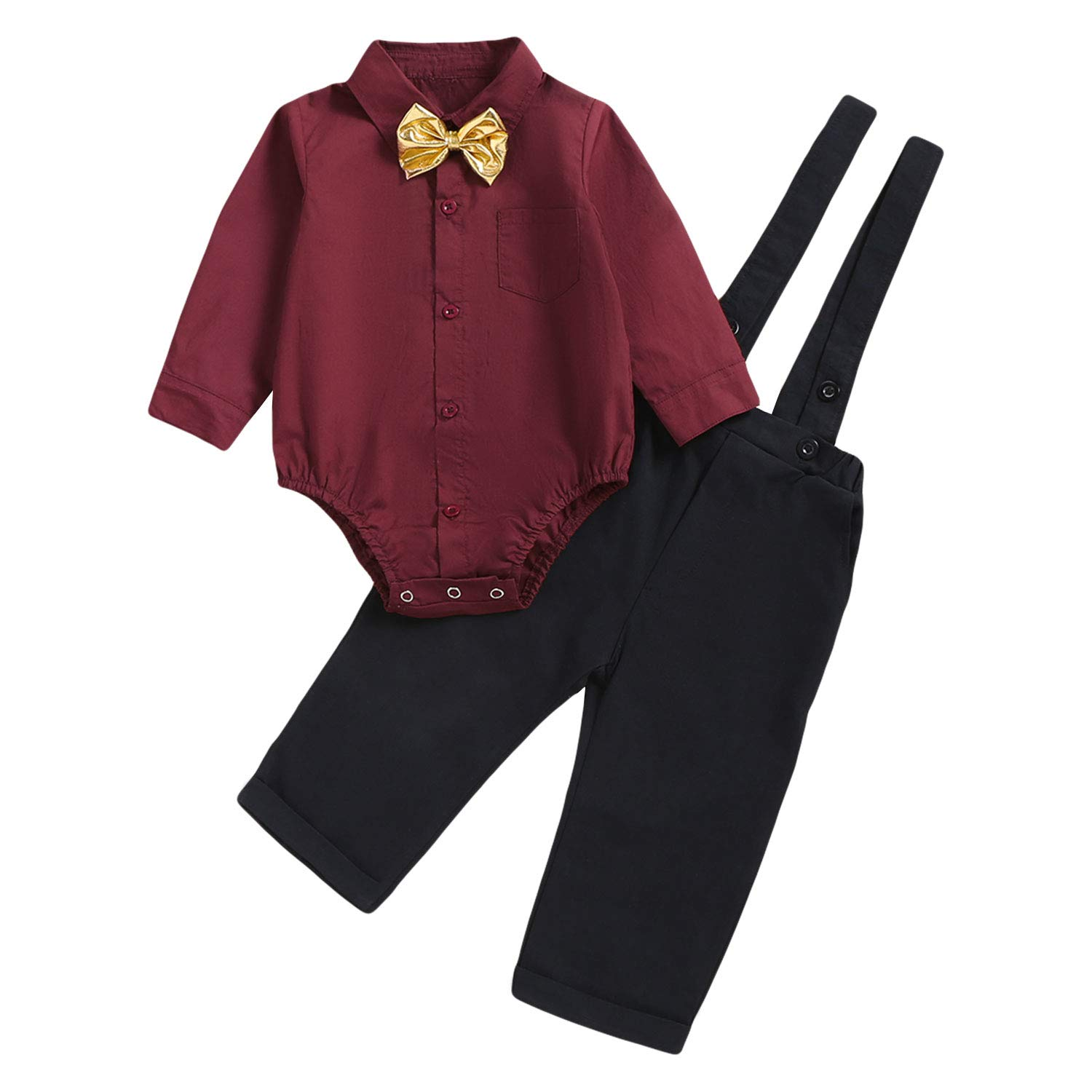 Baby Boys Gentleman Outfit Set, Infant Plain Shirt+Bowtie +Suspenders Pants for Toddler Casual Formal Wedding Birthday Party (Red Long Sleeve Plain Black Pants, 18-24 Months) by ROMPERINBOX