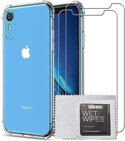 Lifeacc per Cover iPhone XR Pellicola Protettiva in Vetro Temperato [2 Packs], Nuovo Arrivo Air Cushion Antiurto Morbida Silicone Trasparente ...