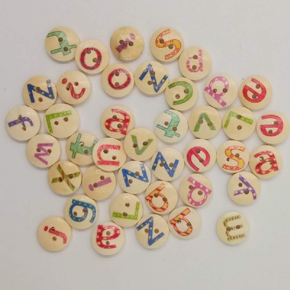 Botón Letra Alfabeto de Madera 2 Agujeros 15MM Scrapbooking Costura Creativo