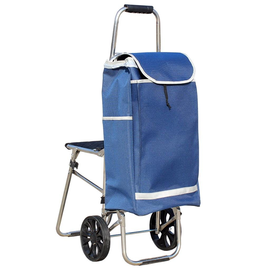 Shopping cart - hand pull, stainless steel folding seat, luggage cart , blue (send rope)