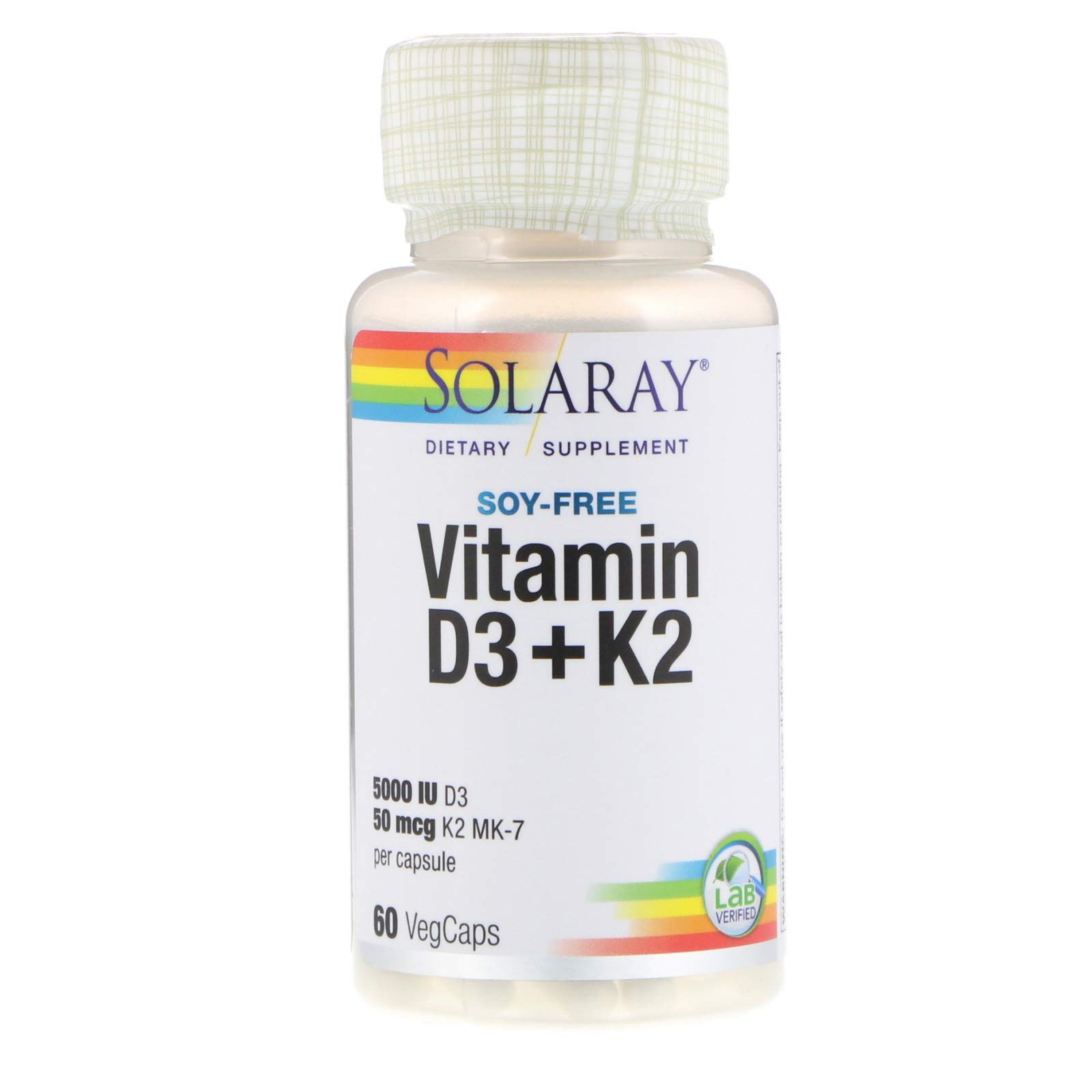 Solaray, D3 5000Mg with K2, 60 Vegetarian Capsules