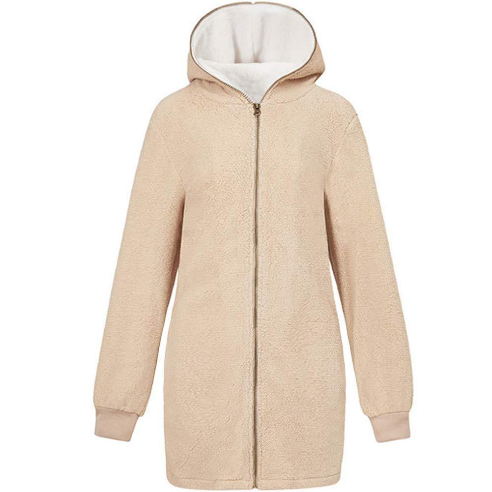 Newbestyle Women/'s Solid Full Zip Oversized Open Front Hooded Pockets Fuzzy Fleece Cardigan Jacket Coat Outwear XS-2XL