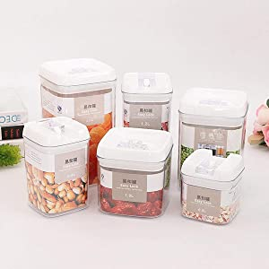 YERZ Vacuum Sealed Cans, Airtight Food Storage Container with Lid, Multi-Capacity Leakproof Acrylic Kitchen Organizer, Rice Food Container(0.5L)