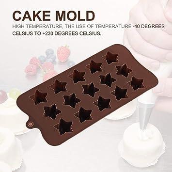 Hemore - Molde de Silicona para Tartas, 15 Ranuras, diseño de Estrella de Cinco Puntas, para Hornear caseros, Chocolate y Accesorios para el hogar: ...