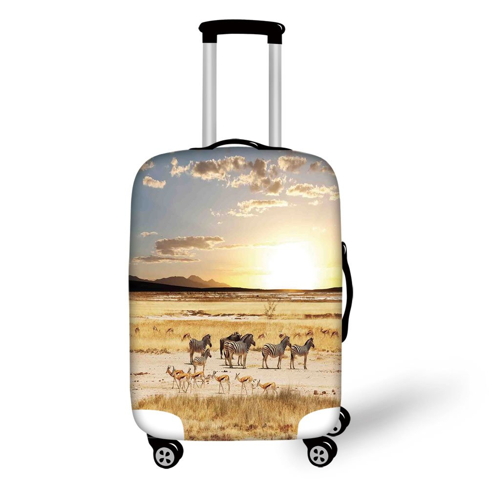 Travel Luggage Cover Suitcase Protector,Safari,Zebras with Their Striped Coats in Savannahs Sunset Adventure Africa Wild Safari,Cream Golden,for Travel